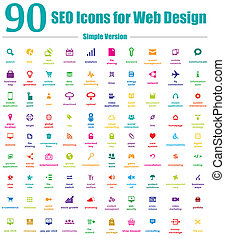ikony, sieć, prosty, seo, projektować, 90