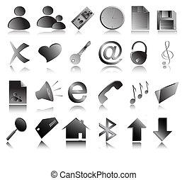 ikony, sieć, szary