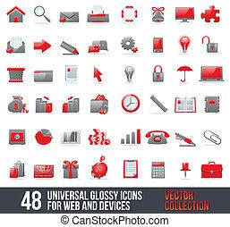 ikony, sieć, uniwersalny, ruchomy
