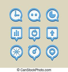 ikony, sieć, zbiór, różny