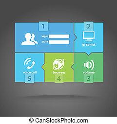 ikony sieći, kolor, nowoczesny, dachówka, szablon, interfejs