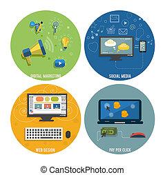 ikony sieći, media, towarzyski, seo, projektować