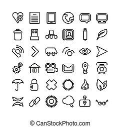 ikony sieći, set., cienka lina, ikona