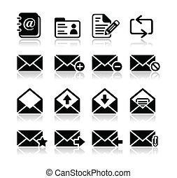 ikony, skrzynka pocztowa, komplet, wektor, email