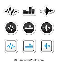 ikony, soundwave, muzyka, komplet, wektor