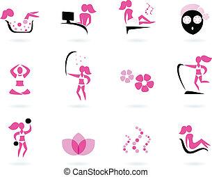 ikony, &, sport, czarnoskóry, zdrój, wellness, (, odizolowany, różowy, ), biały