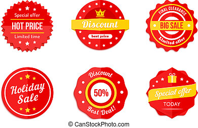 ikony, sprzedaż, dyskonto, skuwka, różny, czerwony