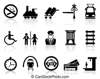 ikony, stacja, pociąg, służba