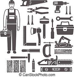 ikony, sylwetka, czarnoskóry, narzędzia, komplet, stolarka