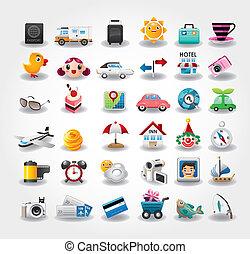 ikony, symbol, podróż, ilustracja, wektor, collection.