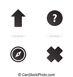 ikony, symbol, pytanie, krzyż, strzała, busola