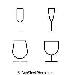 ikony, szkło, cienki, tło, kreska, białe wino