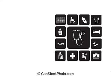 ikony, szpital, komplet
