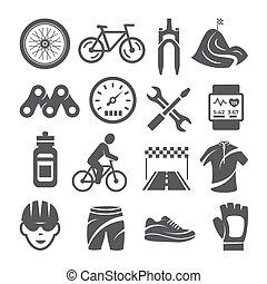ikony, tło, jeżdżenie na rowerze, komplet, biały