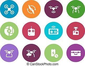 ikony, tło., truteń, koło, multicopter, biały