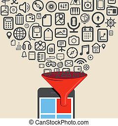 ikony, tabliczka, urządzenie, cyfrowy, nowoczesny, potoki