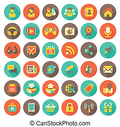 ikony, towarzyski, tworzenie sieci, płaski, okrągły
