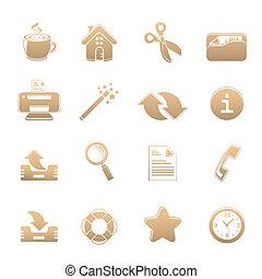 ikony, uniwersalny, komplet, jeden