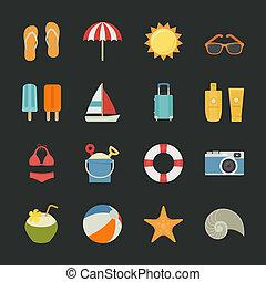 ikony, urlop, lato