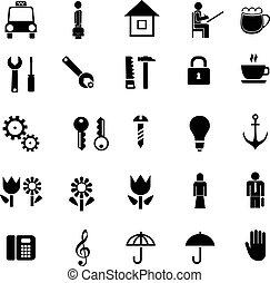 ikony, wektor, komplet, piktogramy