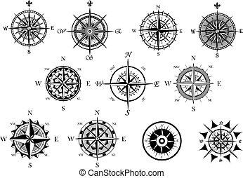 ikony, wiatr, busola, komplet, morski, róża