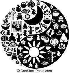 ikony, yang, symbol, zen, yin, robiony