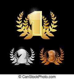ikony, złoty, trzeci, srebro, pierwszy, -, miejsce, komplet...