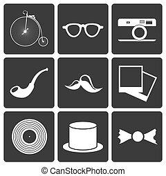 ikony, z, komplet, hipster, pozycje