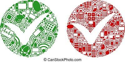 ikony, zastosować, dane, collage, cielna