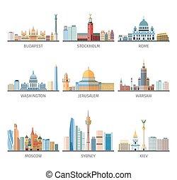 ikony, zbiór, świat, sławny, cityscapes, płaski