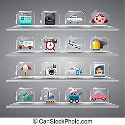 ikony, zbiór, podróż, przeźroczysty, sprytny, szkło, guzik