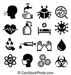 ikony, -, zdrowie, komplet, zakażenie, wirus