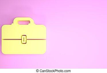 ikoon doos, render, vrijstaand, teken., minimalism, gele, toolbox, illustratie, concept., achtergrond., roze, werktuig, 3d