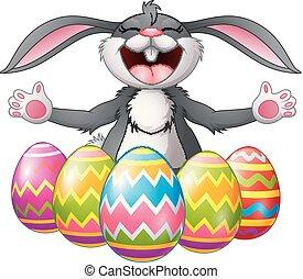 ikra, öt, nevető, üregi nyúl, díszes, húsvét, karikatúra