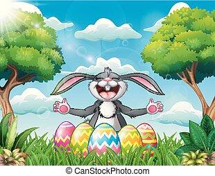 ikra, liget, öt, nevető, üregi nyúl, díszes, húsvét, karikatúra
