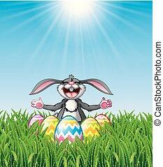 ikra, nevető, üregi nyúl, fű, húsvét, karikatúra