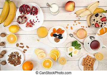 ikra, szerves, muesli, egészséges, diók, méz, lé, gyümölcs, narancs, breakfast.