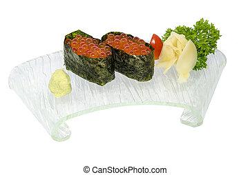 Ikura sushi isolated on the white.