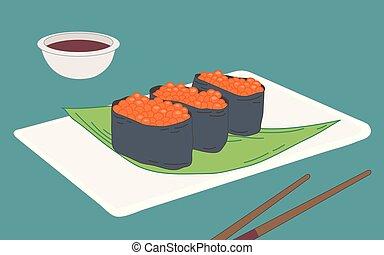 ikura, sushi, salmão, ova, gunkan