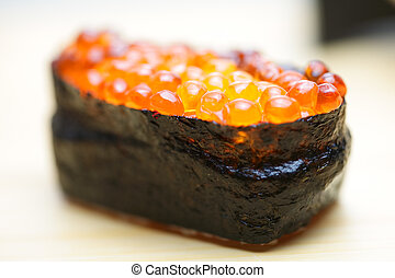 Ikura sushi with red caviar