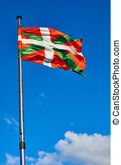 ikurrina, bask, kraj, bandera falująca, na, niejaki, błękitny, sky.