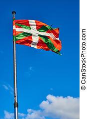ikurrina, baske, land, markierungsfahne wellenartig bewegen, auf, a, blaues, sky.