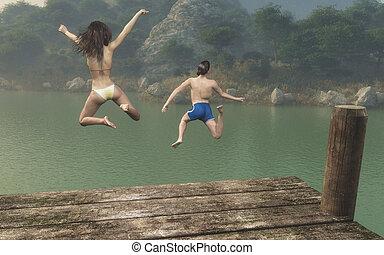 il, adolescenti, saltare