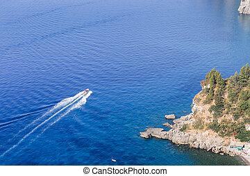 il, amalfi, coast., vista, da, il, ponte osservazione, appresso, positano., italia