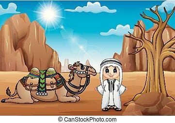 il, arabo, ragazzi, con, cammello, stare, in, attività, su, deserto, di, estate