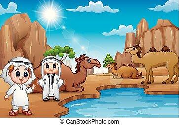 il, arabo, ragazzi, stare, in, attività, su, deserto, di, estate