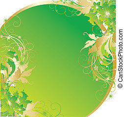 il, astratto, verde, sole