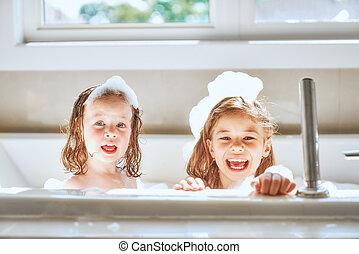 il bagnarsi, bambini, bagno