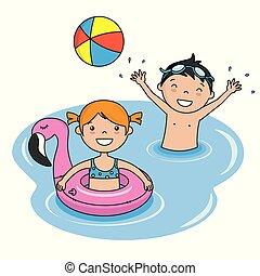 il bagnarsi, spiaggia, bambini
