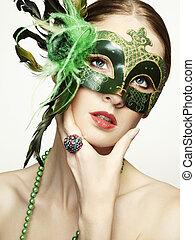 il, bello, giovane, in, uno, verde, misterioso, maschera veneziana